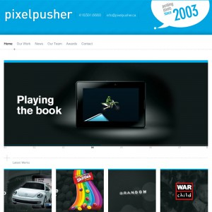 Screenshot of the Homepage for Pixelpusher custom wordpress template