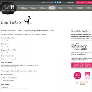 Screenshot of Mirrorball Wordpress CMS buy tickets page.