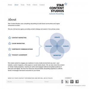 Screenshot of SCS Wordpress CMS default page template.