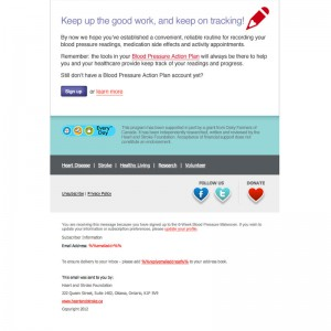 Screenshot showing the bottom section of the Heart & Stroke Foundation custom HTML Email Newsletter