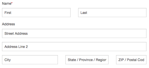 Name and Address fields output from Gravity Forms for Zurb Foundation 5 plugin